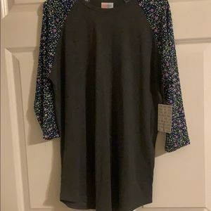 Lularoe Randy top in gray and flower sleeves